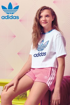 adidas Originals Pink/Blue Marble Trefoil Cropped Tee