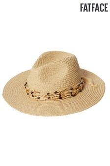FatFace Natural Bead Trim Straw Fedora