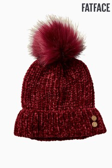 FatFace Red Chenille Pom Beanie