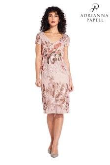Adrianna Papell Pink Border Print Short Dress