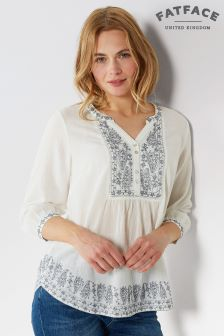 FatFace White Poppy Daisy Embroidered Popover Shirt