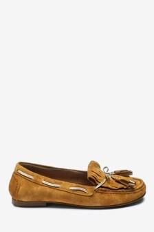 Forever Comfort Leather Fringe Moccasins
