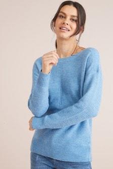 Suéter grueso con cuello barco de mezcla de alpaca