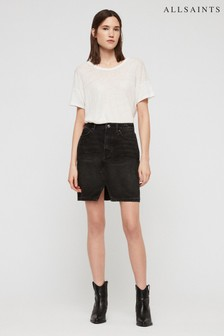AllSaints Black Denim Skirt