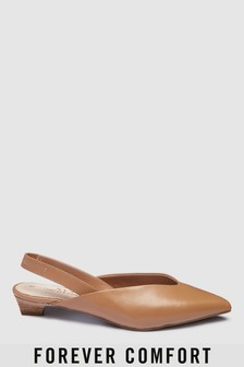 Forever Comfort Leather Slingbacks