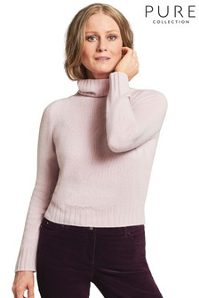 Pure Collection Pink Organic Cashmere Lofty Polo Sweater