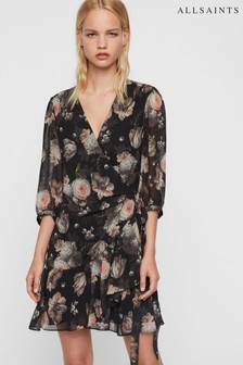 AllSaints Black Floral Jade Eden Wrap Dress