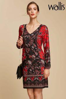 Wallis Red Paisley Jersey Dress