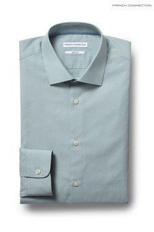French Connection Green Slim Fit Single Cuff Chambray Shirt