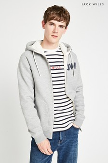 Jack Wills Grey Sherpa Zip Through Hoody