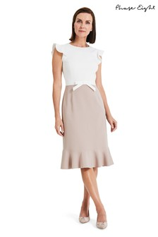 Phase Eight White Stella Bow Detail Dress