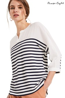 Phase Eight Cream Dominique Stripe Woven Yoke Jersey Shirt