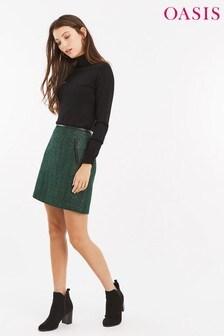 Oasis Green Poppy Tweed Skirt
