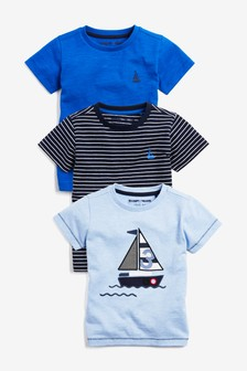 Appliqué Boats Short Sleeve T-Shirts Three Pack (3mths-7yrs)