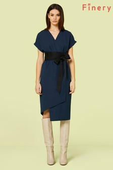 Finery London Blue Navy Sanford Obi Belt Wrap Dress