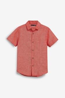 Short Sleeve Linen Mix Shirt (3-16yrs)