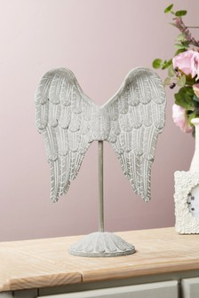 Carved Wood Wings Sculpture