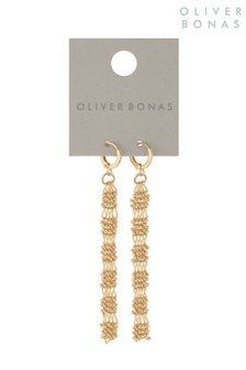 Oliver Bonas Gold Tone Mesh Chain Huggie Drop Earrings