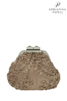 Adrianna Papell White Sailor Champagne Lace Evening Bag
