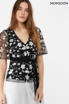 Monsoon Ladies Black Victoria Embroidered Top