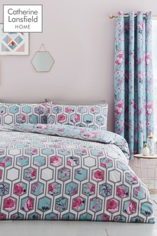 Catherine Lansfield Hexagon Floral Duvet Cover and Pillowcase Set