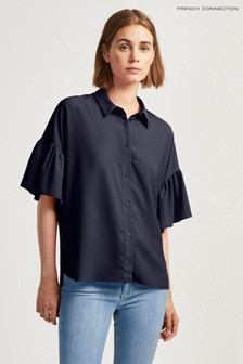 French Connection Dark Blue Ruffle Sleeve Shirt