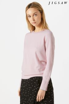 Jigsaw Pink Tipped Cotton Cash Crew