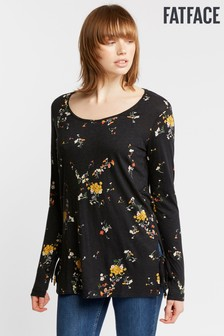 FatFace Black Analee Windswept Posy Longline Top