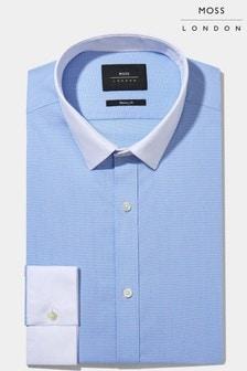 Moss London Sky Skinny Fit Hemd mit Kontrastkragen und -manschetten