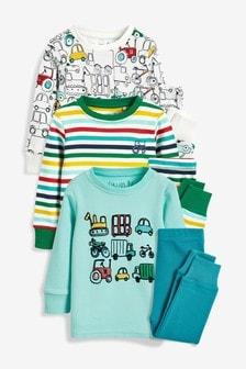 Stripe Transport Snuggle Pyjamas Three Pack (9mths-8yrs)