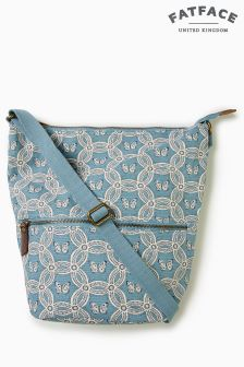 FatFace Green Geo Butterfly Tia Canvas Cross Body Bag