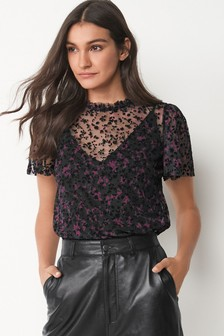 Flocked Mesh Top