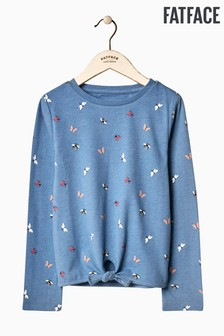 FatFace Blue Bugs Print Tie Front Tee