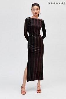Warehouse Black Ombre Stripe Velvet Midi Dress