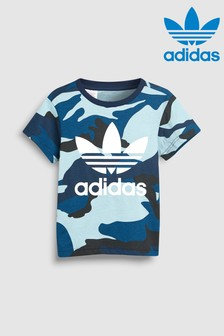 adidas Originals Little Kids Blue Camo Trefoil Tee