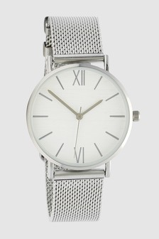 Etched Dial Mesh Watch