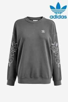 Szara bluza boyfriend adidas Originals z haftem lilii