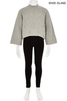 River Island Grey Pearl Sweat And Legging Set