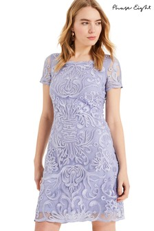 Phase Eight Blue Natalia Embroidered Dress