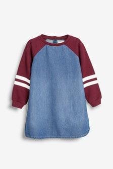 Denim-Kleid mit Jersey-Ärmeln (3-16yrs)