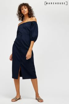 Warehouse Navy Bardot Midi Dress
