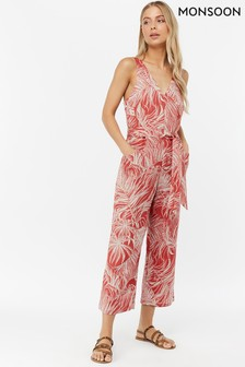 Monsoon Ladies Orange Nancy Print Linen Crop Jumpsuit