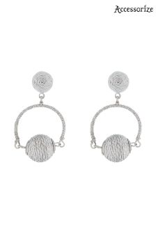 Accessorize Silver Thread Wrapped Ball Short Drop Earrings
