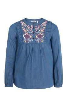 FatFace Chambray Lucy Embroidered Blouse