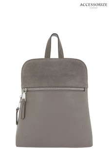 Accessorize Grey Parker Mini Dome Leather Backpack