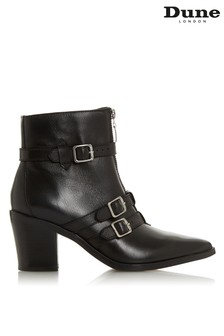 Dune London Black Triple Buckle Strap Boot
