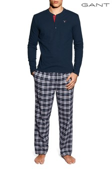 GANT Navy PJ Set Flannel Pant/Logo T G.Box