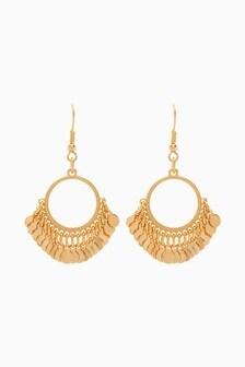 Coin Effect Drop Earrings