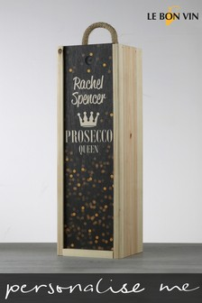 Personalised Prosecco Queen Or King Wood Wine Box by Le Bon Vin
