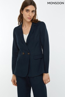 Monsoon Ladies Blue Sarah Smart Linen Jacket